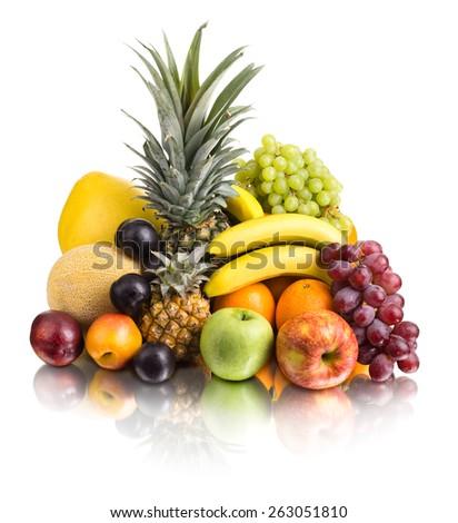 still life of  multi-coloured fruits , on white background, isolated - stock photo