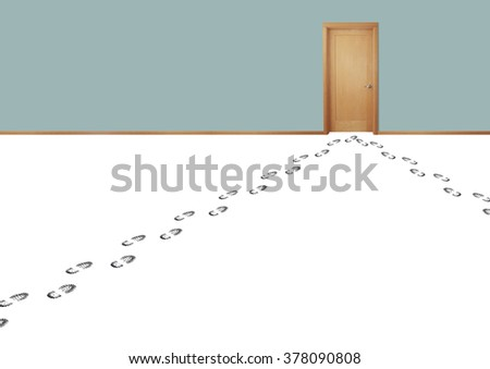 Still life of Multiple Footprints From People Leading to a Door - stock photo