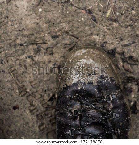 still life of old boots - stock photo