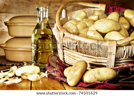 Still life of potatoes in a basket with olive oil - intentional low light and shallow depth of field