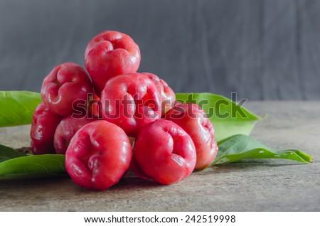 still life of rose apple or chompu on wooden - stock photo