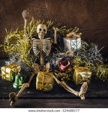 still life of skeleton party