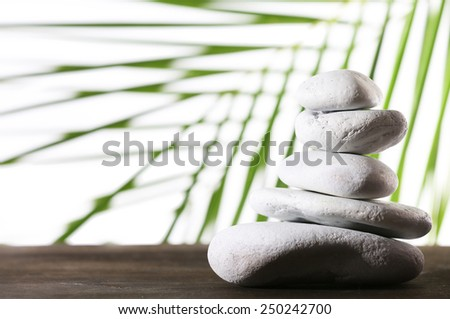 Still life of spa stones on wooden surface with palm leaf isolated on white - stock photo