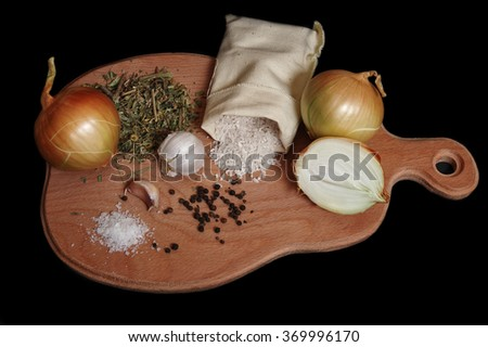 Still life of spices and rice - stock photo