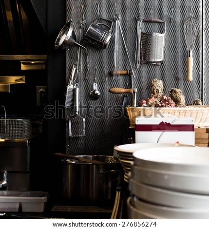 still life of stainless steel cookware , kitchenware set - stock photo