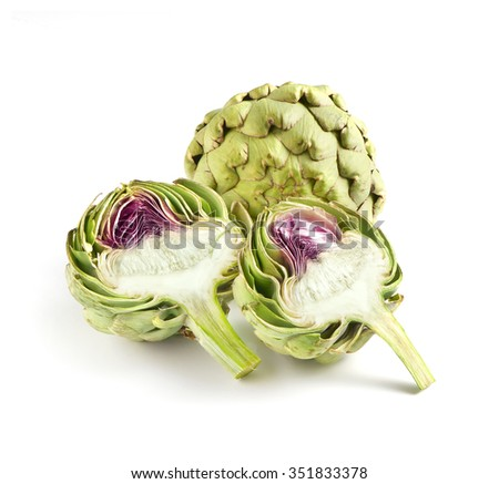 Still Life of Two Fresh Globe Artichokes on White Background - One Split Revealing Purple Center and One Whole in Background - stock photo