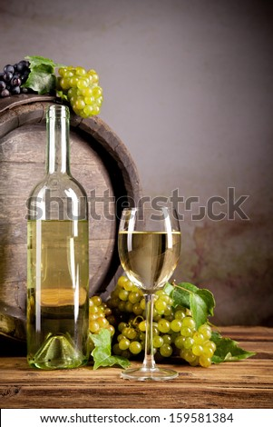 Still life of wine with wooden keg
