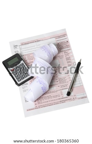 Still life on white background of tax preparation