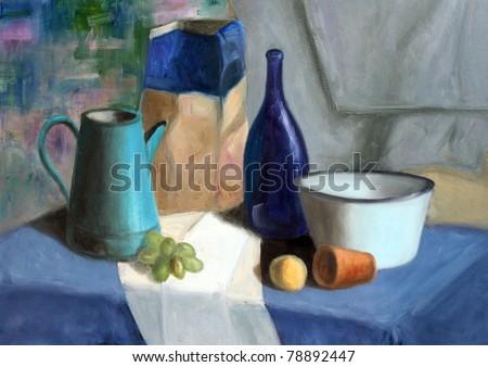 Still life painting of bottle, cornet, grapes, bowl and mandarin - stock photo