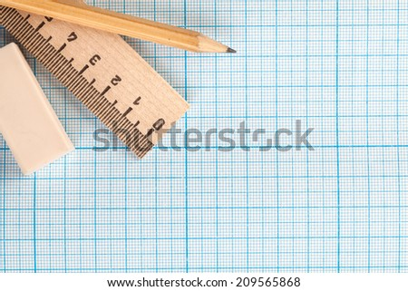 Still life photo of engineering graph paper with  pen, blank to add your own design, image or text - stock photo