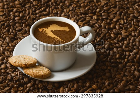 Still life photography of hot coffee beverage with map of Croatia