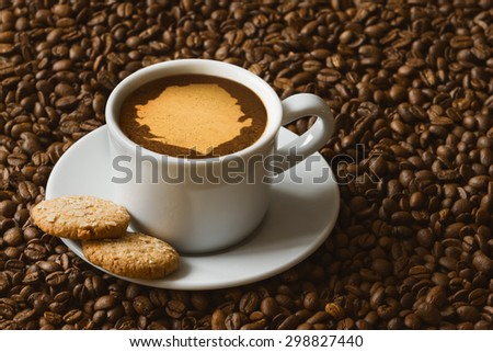 Still life photography of hot coffee beverage with map of Sierra Leone