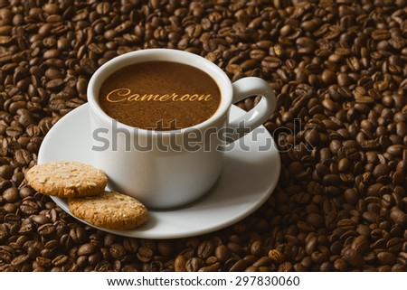 Still life photography of hot coffee beverage with text Cameroon