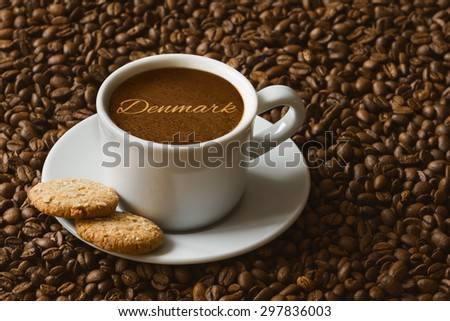 Still life photography of hot coffee beverage with text Denmark
