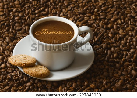 Still life photography of hot coffee beverage with text Jamaica