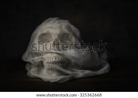 Still life photography with human skull on wood table, Fine art photography with the skull bride with veil on wood table in the dark night - stock photo
