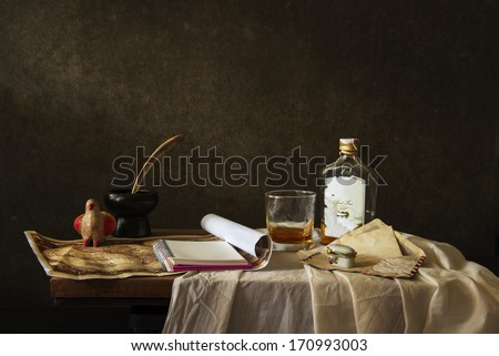 Still life Photography with  map and note ,whiskey on wooden table