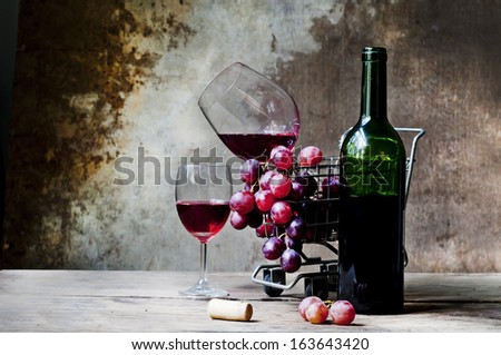 Still life Photography with Red wine - stock photo
