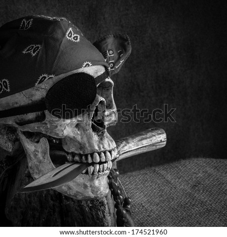 Still life, pirate skull with knife in the mouth - stock photo