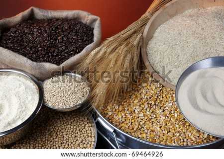Still life shot of agricultural commodities including various grains and beans - stock photo