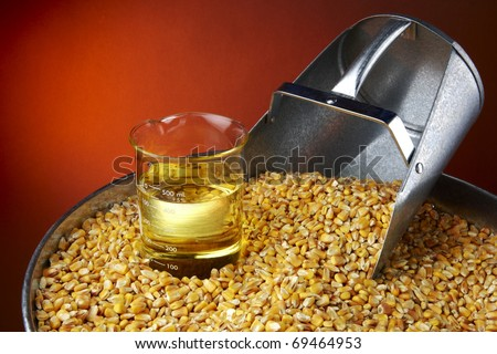 Still life shot of corn, feed scoop and beaker of biofuel with space for copy - stock photo
