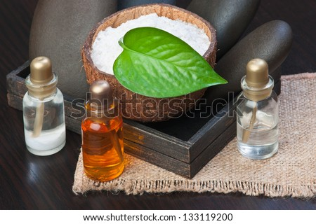 still-life subjects of relaxing spa treatments - stock photo