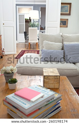 Still life view of a stylish elegant home living room with a white sofa and a fireplace, wooden floors and carpets, house interior. Beautiful design home space and family room with books, indoors. - stock photo