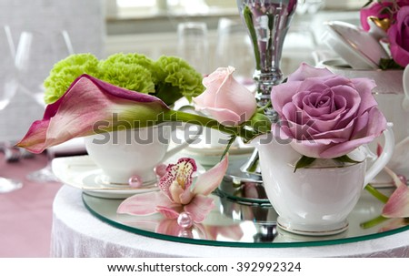 Still life wedding. Decor at a wedding reception. Element decoration of the festive table. - stock photo