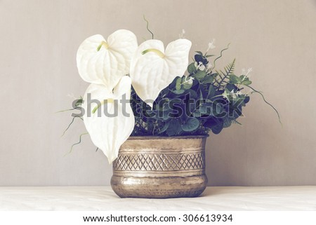 Still life with a beautiful bunch of flowers, vintage color tone. - stock photo