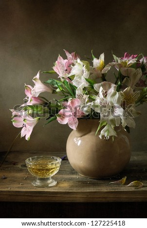 Still life with a bouquet - stock photo