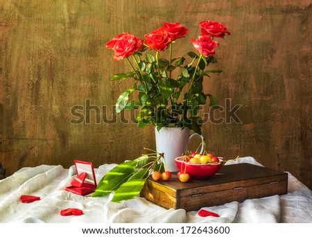 Still life with a bouquet of roses, hearts and cherries - stock photo