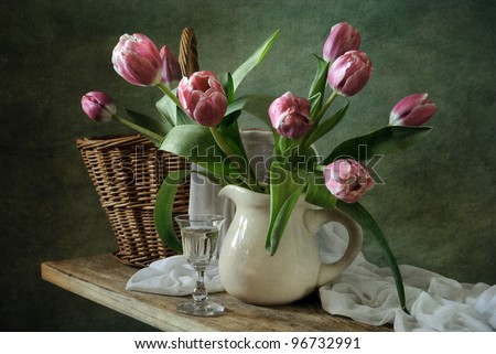 Still life with a bunch of tulips