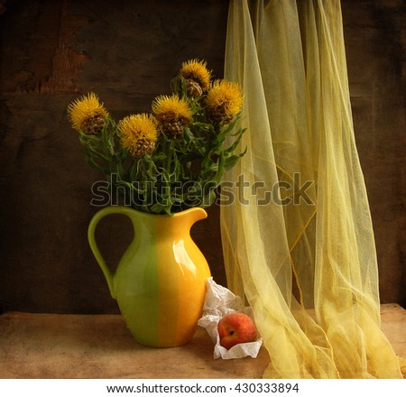 still life with a flowering artichokes and peaches