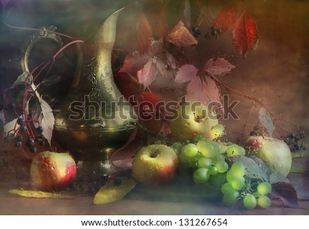 Still-life with a jug, a bright beautiful bouquet with a graceful jug both a ripe apple and juicy grapes - stock photo