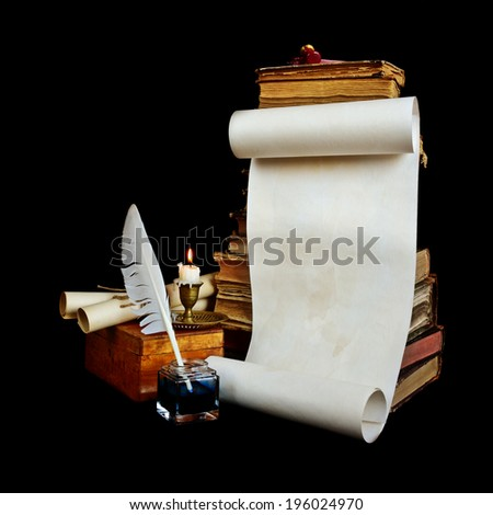 Still life with a letter, a pen, a lighted candle in copper candlestick on a background of old books  - stock photo