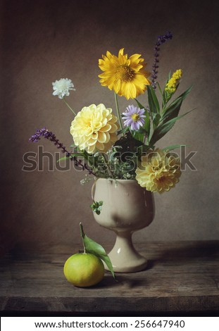 Still life with a little bouquet of flowers (vintage effect) - stock photo