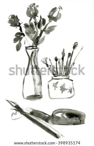 Still-life with a vase of roses, brush on the stand and inkstone, and Chinese ink dry - stock photo