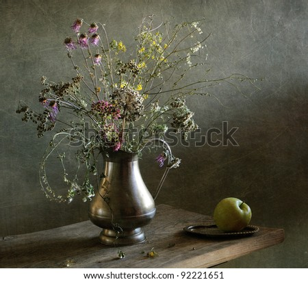 Still life with an apple - stock photo