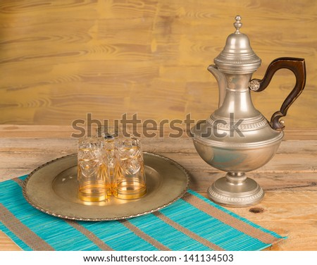 Still life with antique Moroccan tea accessories