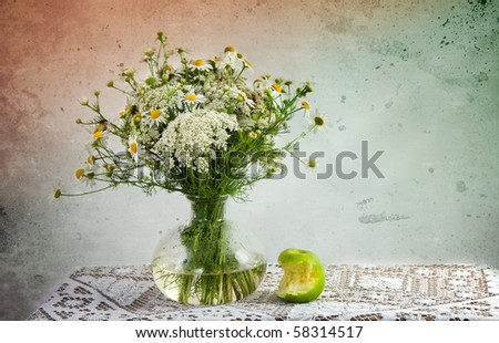 Still Life with Apple and flowers in vase