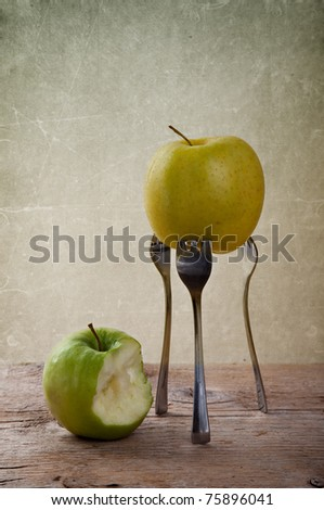 Still-Life with Apple stuck on three Forks
