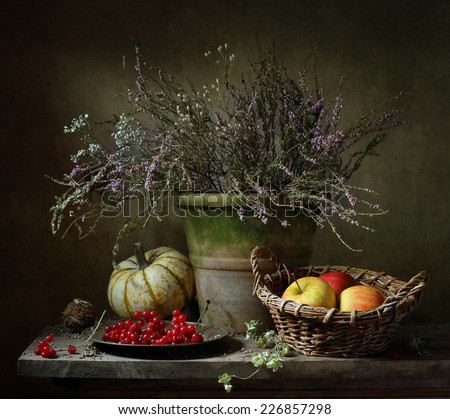 Still life with apples and a pumpkin - stock photo