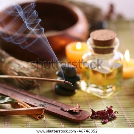 Still Life with aroma sticks in the spa salon. - stock photo