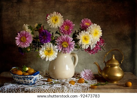Still life with asters - stock photo