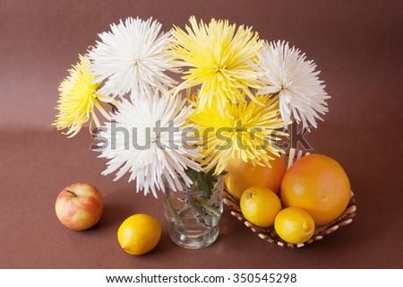 Still life with asters and lemon on artistic background - stock photo