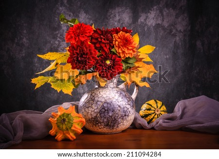 Still life with autumn chrysanthemum flowers in a vase