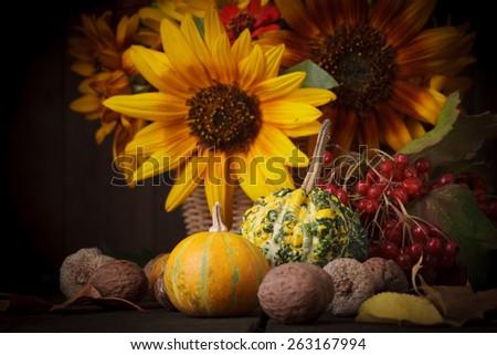 Still life with autumn harvest on wood background - stock photo