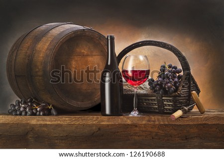still life with barrel and - stock photo