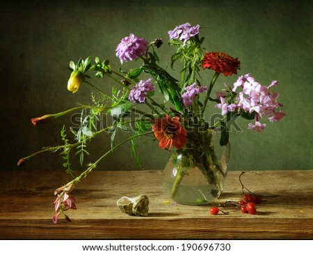 Still life with beautiful flowers - stock photo