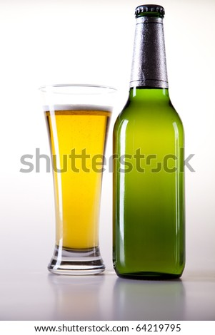 Still life with beer, Green bottle